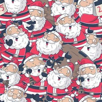 Nahtloses muster mit weihnachtsmann-karikatur