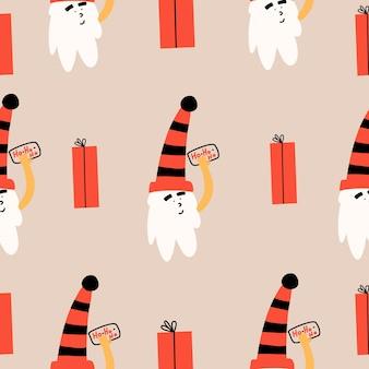Nahtloses muster mit weihnachtsmann und einem geschenk. weihnachtsvektorillustration im flachen stil