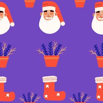 Nahtloses muster mit weihnachtsmann, weihnachtssocke. vektorillustration in einem flachen stil zum drucken.