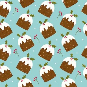 Nahtloses muster mit weihnachtspudding und beeren