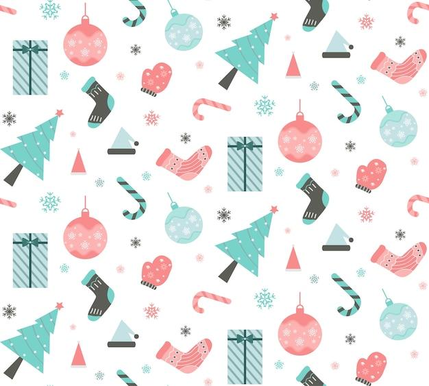 Nahtloses muster mit weihnachtssymbolen