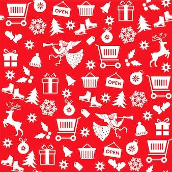 Nahtloses muster mit weihnachtsverkaufssymbolen auf rotem hintergrund.