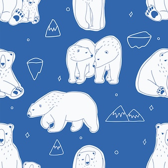 Nahtloses muster mit weißen eisbären. hand gezeichnet, gekritzelhintergrund.