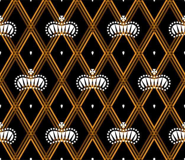 Nahtloses muster mit weißen königskronen auf dunkelschwarzem hintergrund