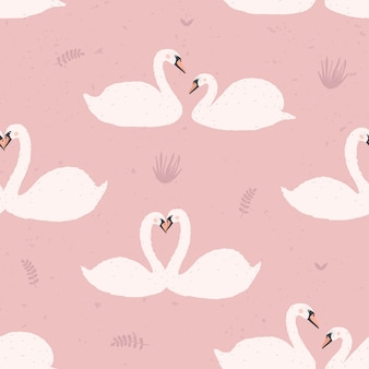 Nahtloses muster mit weißen schwänen. schwanenpaare auf rosa hintergrund. bunte illustration.