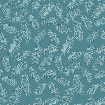 Nahtloses muster mit weißen tropischen blättern auf blauem hintergrund