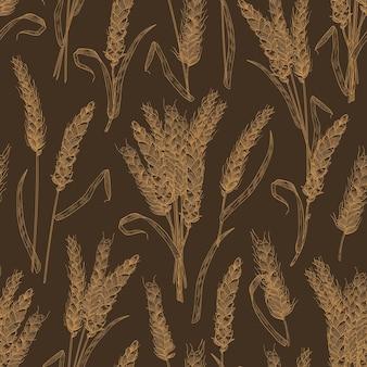 Nahtloses muster mit weizenähren oder ährchen auf schwarzem hintergrund. kulisse mit angebauter getreidepflanze, nahrungspflanze. realistische vektorgrafik im vintage-stil für tapeten, textildruck.