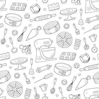 Nahtloses muster mit werkzeugen für die herstellung von kuchen, keksen und gebäck