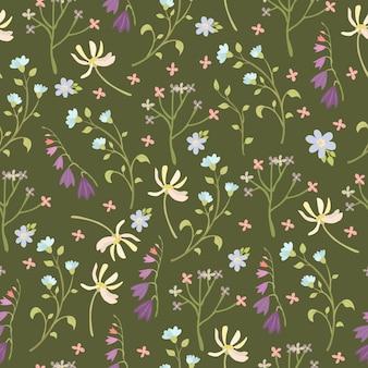 Nahtloses muster mit wildblumen
