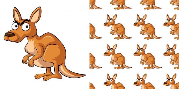 Nahtloses muster mit wildem känguru