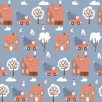 Nahtloses muster mit winterhäusern für weihnachten und rotem retro-pickup mit einem tannenbaum-weihnachtsfab...