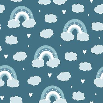 Nahtloses muster mit wolke und regenbogen im himmel