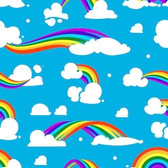 Nahtloses muster mit wolken und regenbogen