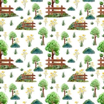 Nahtloses muster mit wunderschönen bäumen und blumen