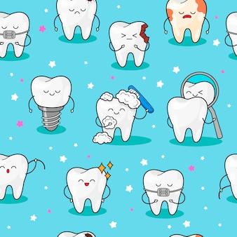 Nahtloses muster mit zähnen.