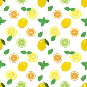 Nahtloses muster mit zitronen-tangerine-orangen- und limetten-minz-scheiben und blättern mit zitrusfrüchten