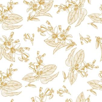 Nahtloses muster mit zitrusfruchtblättern, zweigen und blühenden blumen im gravurstil