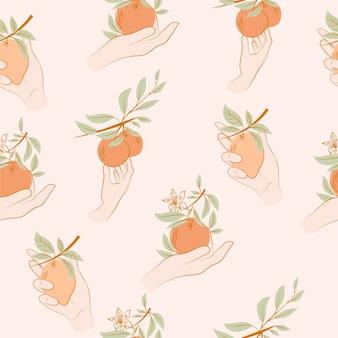 Nahtloses muster mit zitrusfrüchten in der frauenhand. strichzeichnungen hintergrund.