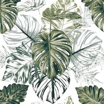 Nahtloses muster monstera grünes blatt abstrakten weißen hintergrund. illustration trockenes aquarell handzeichnung stlye.