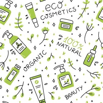 Nahtloses muster natürlicher bio-kosmetik im doodle-stil