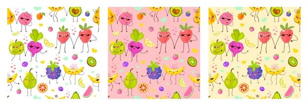 Nahtloses muster niedliche fruchtcharaktere. kinderart, erdbeere, himbeere, wassermelone, zitrone, bananenpastellfarbhintergrund.