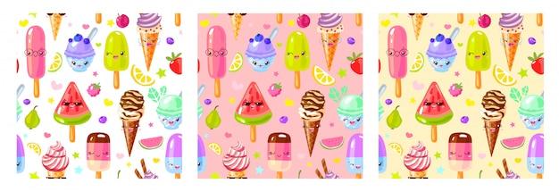Nahtloses muster niedliche fruchteischaraktere. kinderart, erdbeere, himbeere, wassermelone, zitrone, bananenpastellfarbhintergrund.