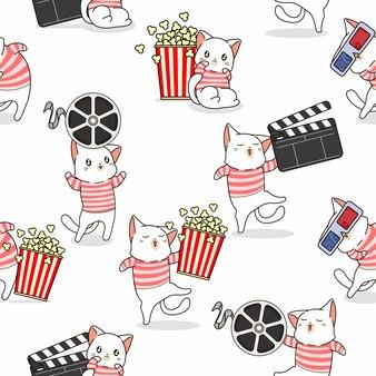 Nahtloses muster niedliche katze liebt film