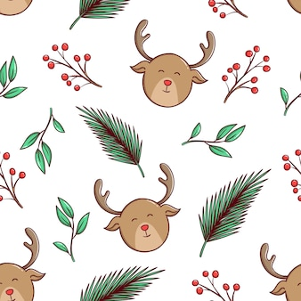 Nahtloses muster niedlichen weihnachtshirsch und blumen