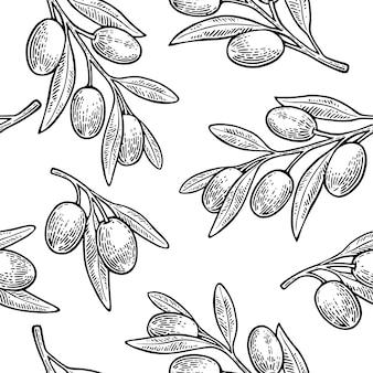 Nahtloses muster oliven auf zweig mit blättern.