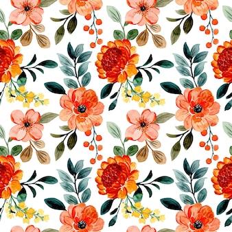 Nahtloses muster orange blumen- und grünblätter mit aquarell