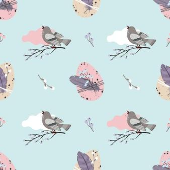 Nahtloses muster ostern: eier, singender vogel, zweige, weide.