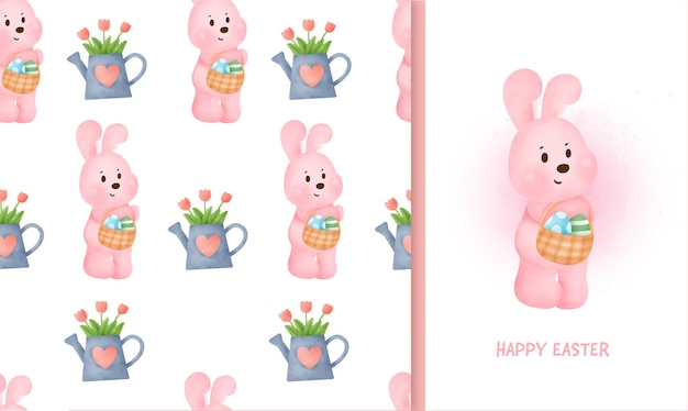 Nahtloses muster ostertag mit kaninchen und grußkarte in aquarellillustration.