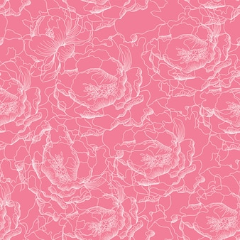 Nahtloses muster paeonia blüht abstrakten hintergrund.