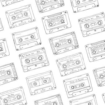Nahtloses muster, plastikkassette, tonband mit unterschiedlicher musik. hand gezeichneter konturhintergrund, retro-stil.