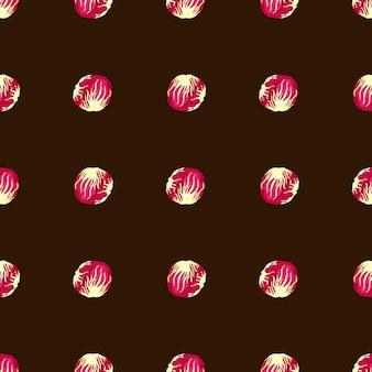 Nahtloses muster radicchiosalat auf braunem hintergrund. einfache verzierung mit rosa salat. geometrische pflanzenvorlage für stoff. design-vektor-illustration.
