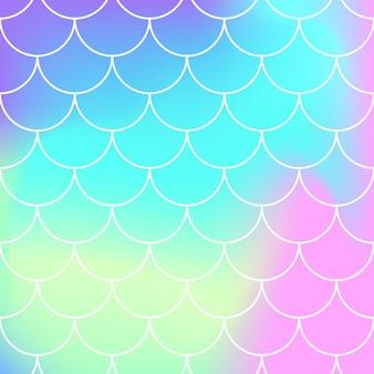 Nahtloses muster. regenbogen hintergrund. meerjungfrau schuppen. kawaii bunter hintergrund. holographischer druck. helle meerjungfrau muster. illustration. einhorn regenbogen hintergrund.