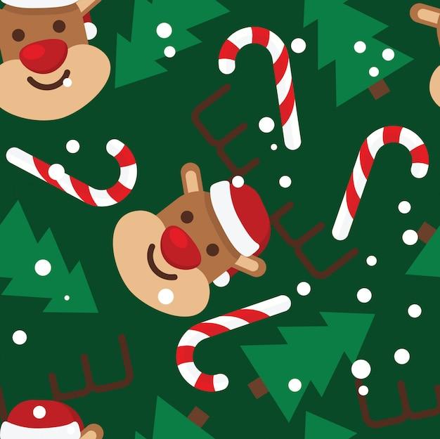 Nahtloses muster, rehe, weihnachtsbäume, schnee, zuckerstangen