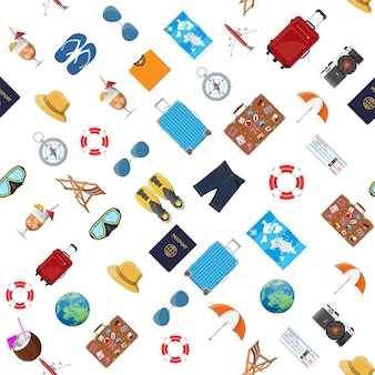 Nahtloses muster reisen. sommerurlaub, tourismus und urlaubsartikel. fotokamera-kompass, flugzeug, globus, karte, tauchmaske, flip-flops, cocktail, hemd-shorts-pass-ticket. vektor flacher stil
