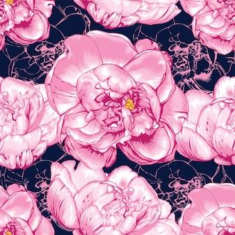 Nahtloses muster rosa paeonia blüht abstrakten hintergrund. handzeichnung.