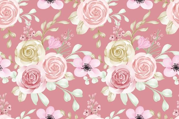 Nahtloses muster rosa pastellaquarellblume