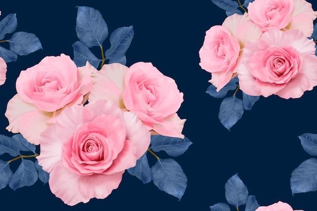 Nahtloses muster rosa rose vintage abstrakter hintergrund. illustration aquarell hand gezeichnet.