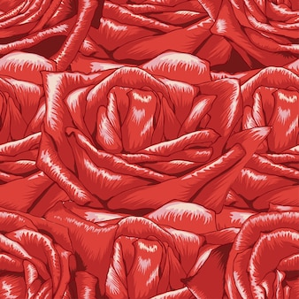 Nahtloses muster rote rose blüht hintergrund.