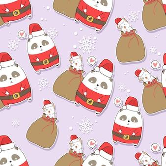 Nahtloses muster santa claus panda und katze am weihnachtstag