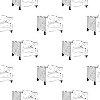 Nahtloses muster. sessel, stuhl auf einem weißen hintergrund. illustration
