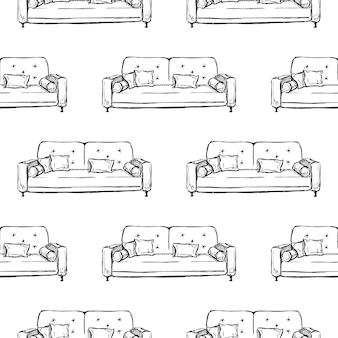 Nahtloses muster. sofa, ottomane auf weißem grund. illustration