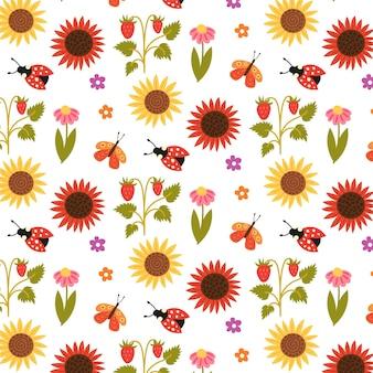 Nahtloses muster sonnenblumen erdbeeren blumen insekten. sich wiederholender hintergrund mit rustikalem motiv. vektor-hand zeichnen papier, kinderzimmer-design-tapete