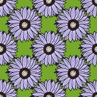 Nahtloses muster sonnenblumen grüner hintergrund. schöne textur mit lila großer sonnenblume.