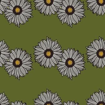 Nahtloses muster sonnenblumen grüner hintergrund. schöne textur mit linie sonnenblume und blättern. zufällige blumenvorlage im doodle-stil für stoff. design-vektor-illustration.