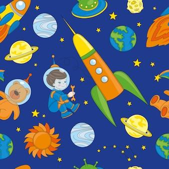 Nahtloses muster spaceman ist farbvektor-illustration