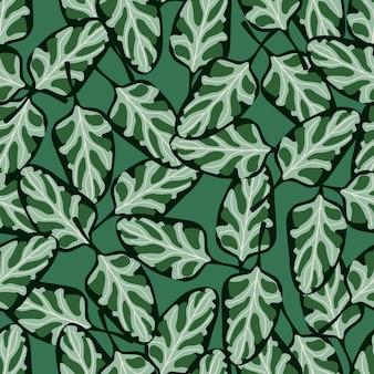 Nahtloses muster spinatsalat auf aquamarinem hintergrund. abstrakte verzierung mit salat. zufällige pflanzenvorlage für stoff. design-vektor-illustration.